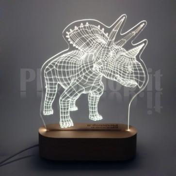 Lampada 3D Triceratopo Bianca