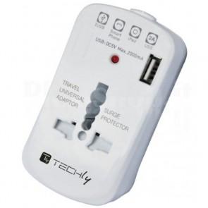 Adattatore Universale da Viaggio da 2A per Prese Elettriche con USB