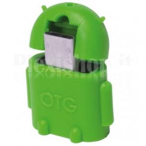 Adattatore USB 2.0 OTG MicroB M / A F per Smartphone/Tablet Verde