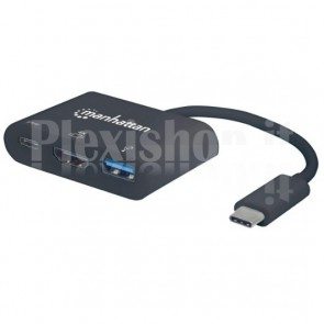 Adattatore USB-C M a USB A, USB-C e HDMI Nero