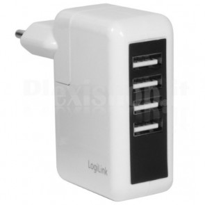 Alimentatore da Rete Italiana a 4 x USB, 2500 mA, Bianco