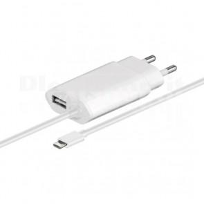 Alimentatore da Rete Italiana 1 USB con Cavo Micro USB 2.1A Bianco