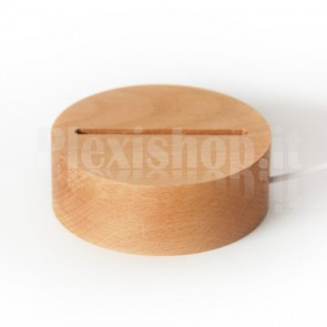 Base a led in legno tonda - Luce Bianca