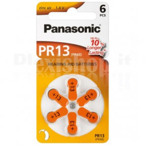 Batterie a Bottone per Protesi Acustiche PR13, 6pz
