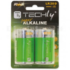 Blister 2 Batterie High Power Alcaline Torcia D LR20 1,5V