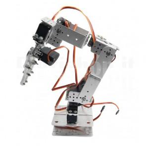 Braccio robotico con pinza in alluminio in kit, 6DOF