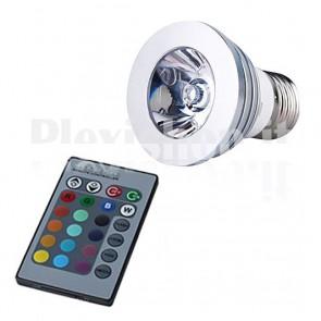 Lampada Faretto E27 RGB 3W + Telecomando