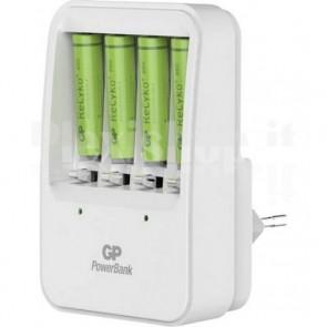 Caricabatterie 4 AA/AAA con 4 batterie AA 2600mAh Bianco