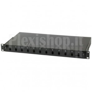 Cassetto Rack 19'' Fibra Ottica 12 porte LC Duplex/SC Simplex Nero