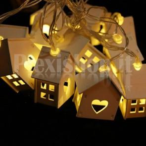 Catena di casette luminose - BIANCO CALDO