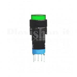 Commutatore doppio DPDT a pulsante da pannello, verde
