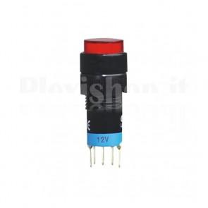 Commutatore luminoso doppio DPDT a pulsante da pannello con LED Rosso a 220Vac