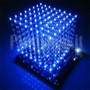 Cubo LED blu 8x8x8 con controllore pre-programmato in kit di montaggio