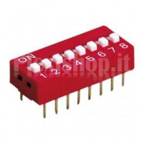 DIP-switch rosso con 8 interruttori indipendenti