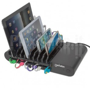 Docking Station 10 Porte USB Ricarica Smartphone e Tablet, Nero