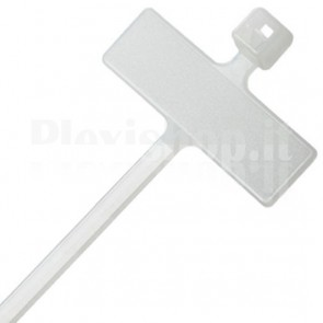 Fascette Fermacavi 100x2,5mm con Targhetta 25x8mm 100 pz Bianco