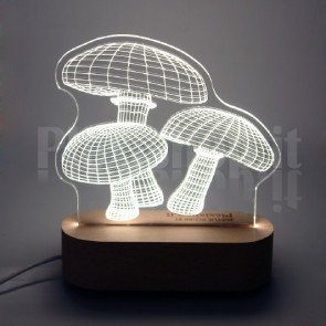 Lampada 3D Funghetti Bianca