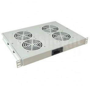 Gruppo 4 Ventole 1U per Rack 19'' con Termostato LED Grigio