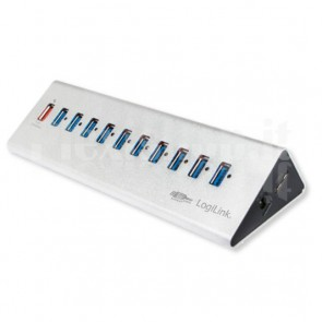 Hub USB3.0 11 Porte in Alluminio con Ricarica Veloce