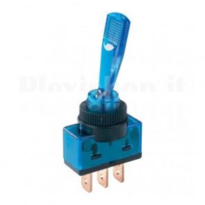 Interruttore luminoso a 12V con leva lunga di colore blu