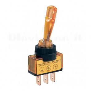 Interruttore luminoso a 12V con leva lunga di colore giallo