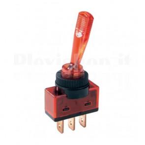 Interruttore luminoso a 12V con leva lunga di colore rosso