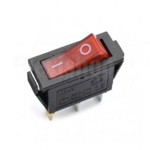Interruttore Rocker SPST Rosso Luminoso 21x15 mm, ON-OFF