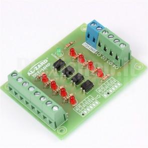 Isolatore a foto-accoppiatori per automazione, 4 canali, input 3.3V, output 24V