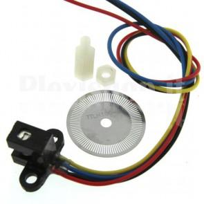 Kit encoder ottico composto da disco + sensore IR prodotto dalla HP