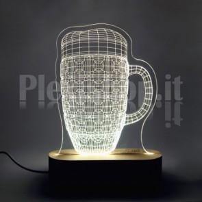 Lampada 3D Boccale Birra Bianca