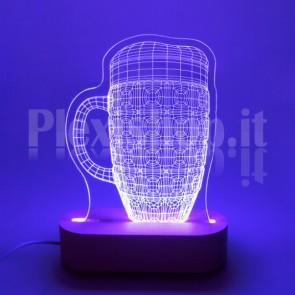 Lampada 3D Boccale Birra RGB