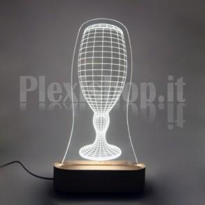 Lampada 3D Calice Birra Bianca