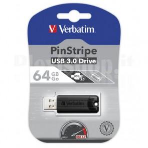 Memoria USB 3.0 PinStripe da 64Gb Colore Nero