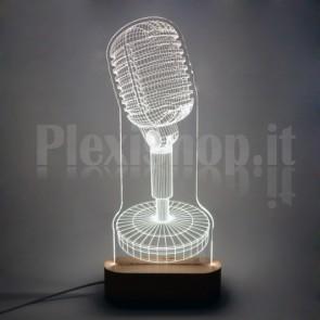 Lampada 3D Microfono Shure Bianca