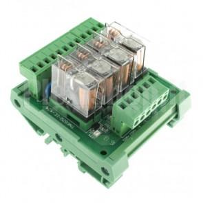 Modulo DIN Relay OMRON 4CH 24V 16A per PLC NPN