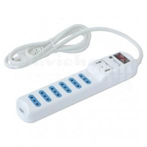 Multipresa 6 Posti Italiana 10A con Interruttore e 2 USB