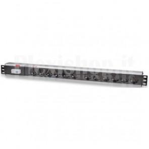 Multipresa Verticale per Rack 12 Posti con Magnetotermico Tipo Tedesco