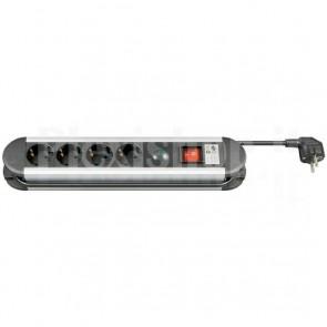 Multipresa in Alluminio 4 Posti Schuko con Interruttore e Led