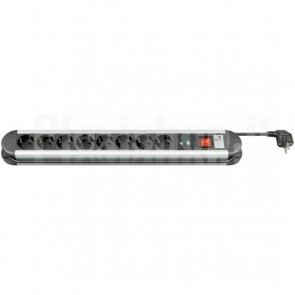 Multipresa in Alluminio 8 Posti Schuko con Interruttore e Led