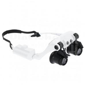 Occhiali per lavori di precisione con luce LED regolabile, ingrandimenti 10x, 15x, 20x, 25x