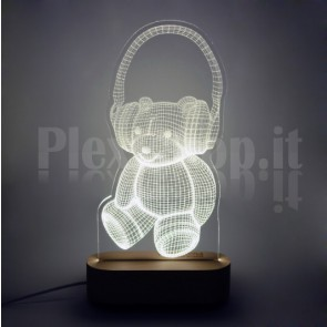 Lampada 3D Orsetto Bianca