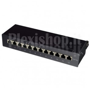 Pannello Patch 12 Posti RJ45 STP Cat. 6A Nero Desktop