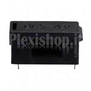 Portafusibile orizzontale da circuito stampato con coperchio, per fusibili 5x20