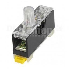 Portafusibile singolo da slitta DIN con indicatore luminoso, per fusibili 5x20