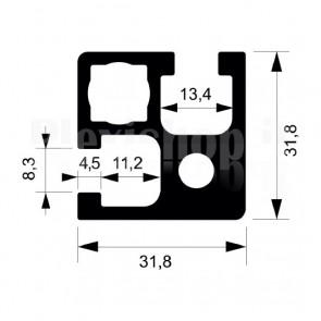 Profilo strutturale in alluminio S18 - 2,2 mt