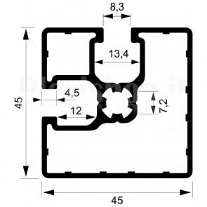 Profilo strutturale in alluminio S47 - 2,2 mt