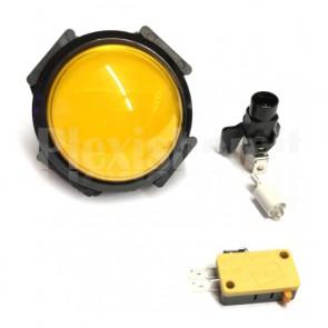 Pulsante a cupola luminoso con LED di colore giallo, 63mm 3A