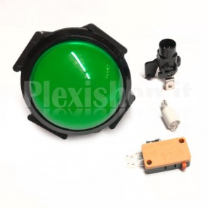 Pulsante a cupola luminoso con LED di colore verde, 63mm 3A