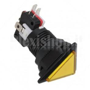 Pulsante triangolare luminoso con LED giallo, 28mm 12V 3A