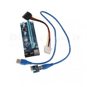 Riser PCI-e x1 x16 USB3.0 Molex, 60cm
